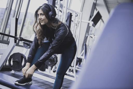 woman stretching gym-