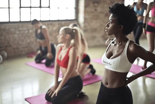 woman yoga class
